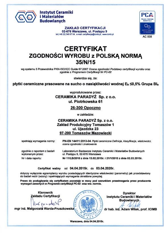 company certificates termodom 7