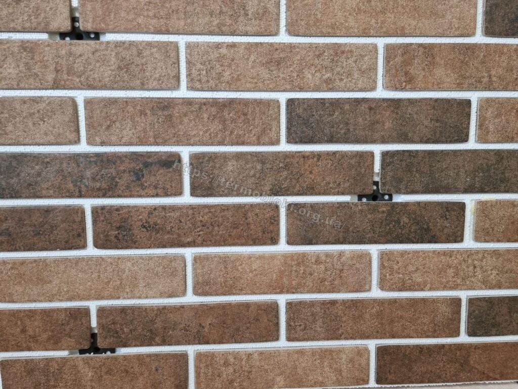панель «Термодом» с керамогранитной плиткой брикстайл «севен тонс оранж» слим 1